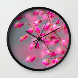 small pink flowers Wall Clock