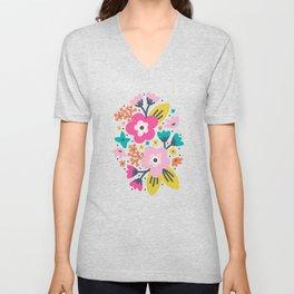 Floral Brights Unisex V-Neck