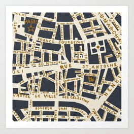 PARIS MAP GREY GOLD Art Print
