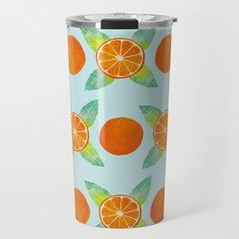 Watercolor Oranges Pattern in Blue Travel Mug