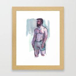 CHRIS, Semi-Nude Male by Frank-Joseph Framed Art Print
