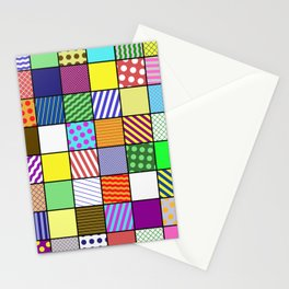 Retro Patchwork - Abstract, geometric, patterned design Stationery Cards