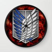 shingeki no kyojin Wall Clocks featuring shield of shingeki  by Blaze-chan