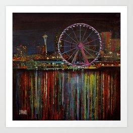 Seattle Wheel at Night Art Print