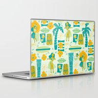 mid century Laptop & iPad Skins featuring Mid-Century Tiki by Aimee Steinberger