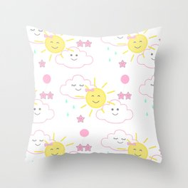 Pink Sun Rain Clouds Stars Throw Pillow