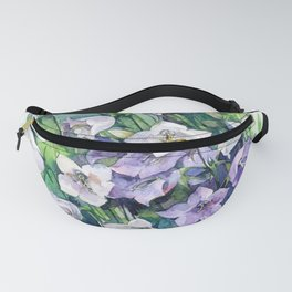 Campanula watercolor flowers, aquarelle bellflowers Fanny Pack