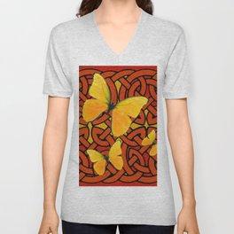 Celtic Design Yellow Butterflies Art  Design Pattern Unisex V-Neck