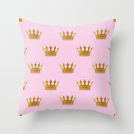 Princess Charlotte Rose Pink with Gold Crowns Throw Pillow