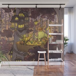 Treehouse Dinner With Animal Friends Wall Mural