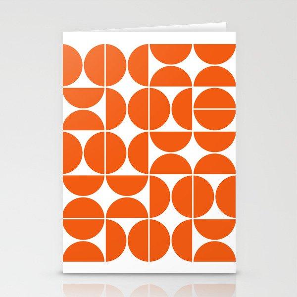 Mid Century Modern Geometric 04 Orange Stationery Cards
