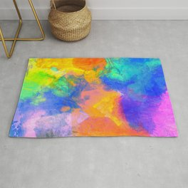 Spilt Rainbow - Abstract, watercolour art / watercolor painting Rug