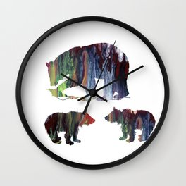 Bear Mother And Cubs Wall Clock