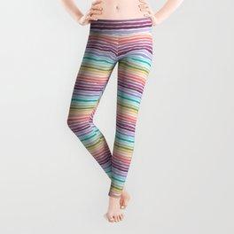 Pastel Rainbow Watercolor Stripes Leggings