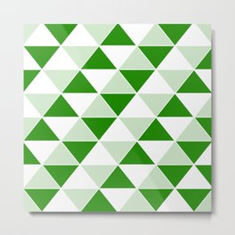 Abstract Triangles pattern - green and white. Metal Print