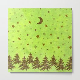 Sparkly Christmas tree, stars, moon on abstract green paper Metal Print