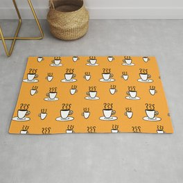 Coffe mug pattern in mustard yellow Rug