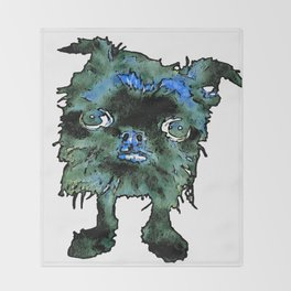 Lugga The Friendly Hairball Monster For Boos Throw Blanket