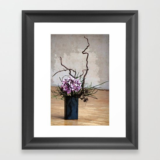 Hydrangea and Wood Vase Watercolor Framed Art Print