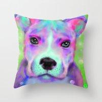 pitbull Throw Pillows featuring Funky Pitbull by Sally Rowland Art