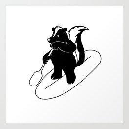 Animal Urbanites: Skunk on Paddle Board Art Print