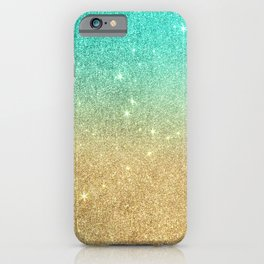 Aqua teal abstract gold ombre glitter iPhone Case