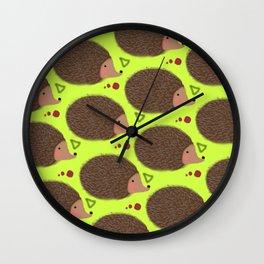 Green hedgehog Wall Clock