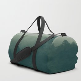 Green Pine Trees Misty Foggy Forest Green Ombre Gradient Minimalist Landscape Duffle Bag