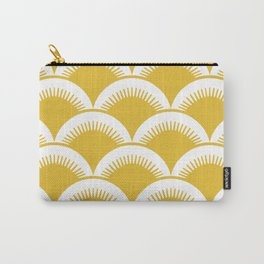 Japanese Fan Pattern Mustard Yellow Carry-All Pouch