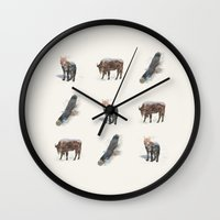 totem Wall Clocks featuring Totem by Quick Brown Fox