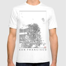San Francisco Map Schwarzplan Only Buildings MEDIUM Mens Fitted Tee White