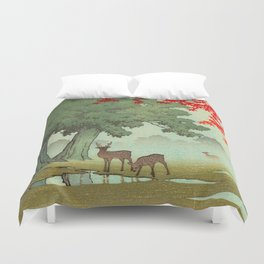 Vintage Japanese Woodblock Print Nara Park Deers Green Trees Red Japanese Maple Tree Duvet Cover