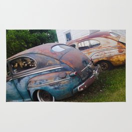 Classic Rusty Ford Cars in Color Rug