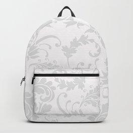 Vintage chic silver white floral damask Backpack