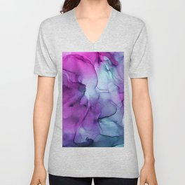 Abstract Mermaid Magenta Indigo Blue Ink Painting Unisex V-Neck