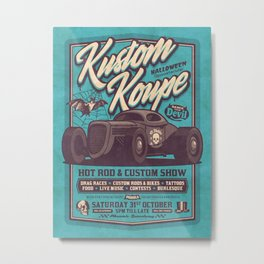 Vintage Style Fictional Halloween Hot Rod Show - Cyan Metal Print