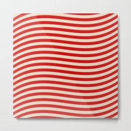 Vintage American Beige and White Stripes Metal Print