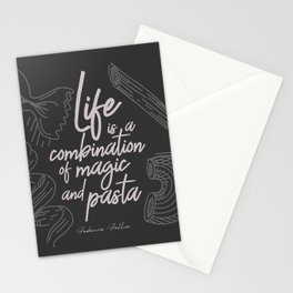 Federico Fellini on life, magic and pasta, inspirational quote, funny sentence, kitchen wall decor Stationery Cards