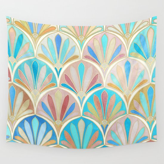 Vintage Twenties Art Deco Pastel Pattern Wall Tapestry
