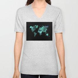 world map 77 blue Unisex V-Neck