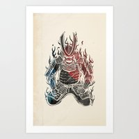 murakami Art Prints featuring Samurai  by Mikio Murakami