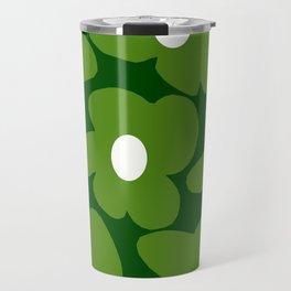 Spring Green Retro Flowers Dark Green Background #decor #society6 #buyart Travel Mug