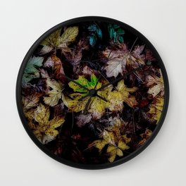 Autumn Patchwork, Maple Leaves Wall Clock