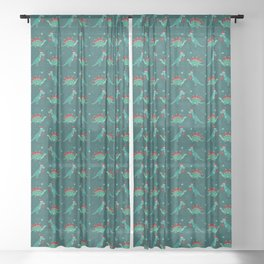 Cute Christmas Dinosaurs with Gift, Santa's Hats and Falling Stars, Teal Green Colors Sheer Curtain