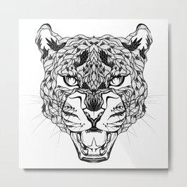 LEOPARD head. psychedelic / zentangle style Metal Print