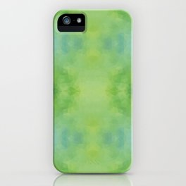 Kaleidoscopic design in soft green colors iPhone Case