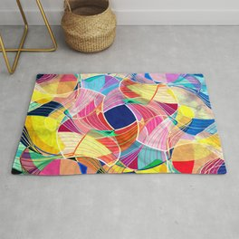 Watercolor abstract colorful background with fantastic elements. Rug