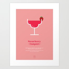 Strawberry Daquiri Cocktail Recipe Art Print Art Print