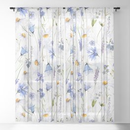 Watercolor Midsummer Blue And White Wildflowers Meadow Sheer Curtain