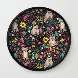 Raccoons bright pattern Wall Clock